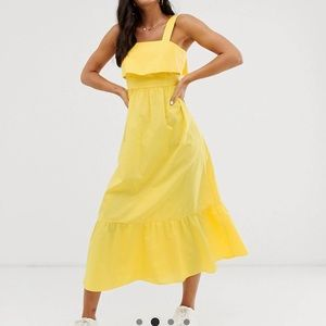 ASOS yellow maxi dress with pephem